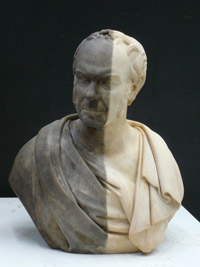 Half cleaned marble bust of William Brown