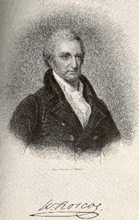 old black and white drawing of a man in formal dress with his signature beneath, reading 'W. Roscoe'