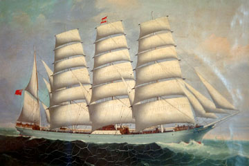 Chinese painting of sailing ship.