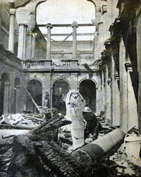 Black and white photo of interior of museum after being bombed