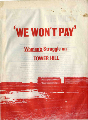 Booklet cover with text 'We Wont Pay. Women's Struggle on Tower Hill'