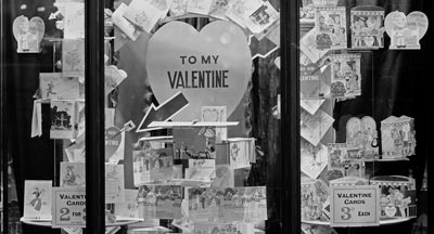 detail of old photo of valentine shop window display