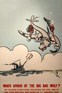 cartoon showing a boat shooting a plane with a wolf's head