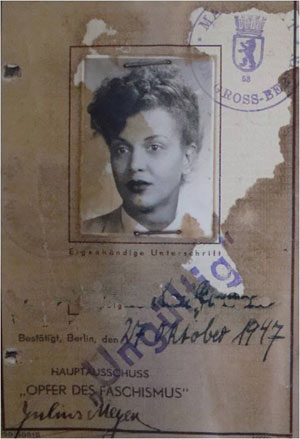 German wartime identity card with portrait photo of a Black woman