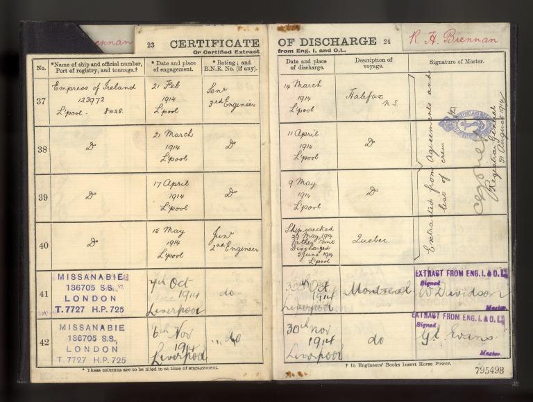 Seafaring career papers of Robert Henry Brennan, engineer. card