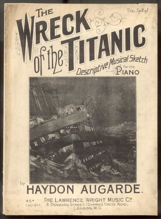 Piano sheet music 'The wreck of the Titanic' by Haydon Augarde card