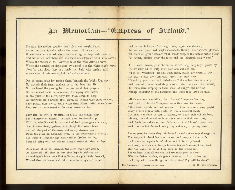 Poem by JEB, re the sinking of Empress of Ireland, Canadian Pacific. card