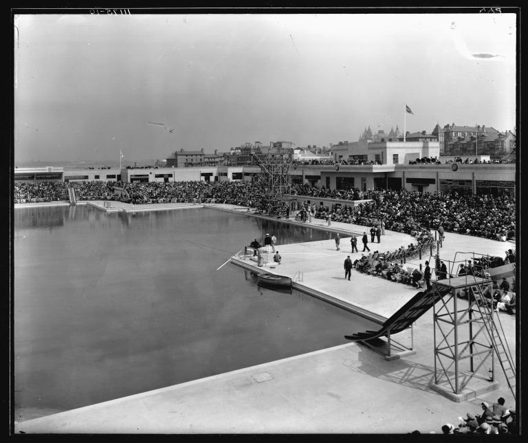 Stewart Bale glass negative of New Brighton Open Air Pool, opening ceremony card