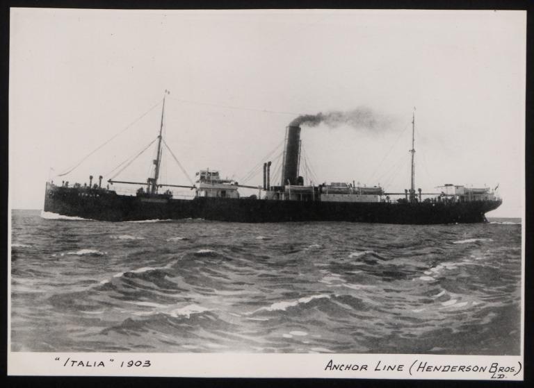 Photograph of Italia, Anchor Line card