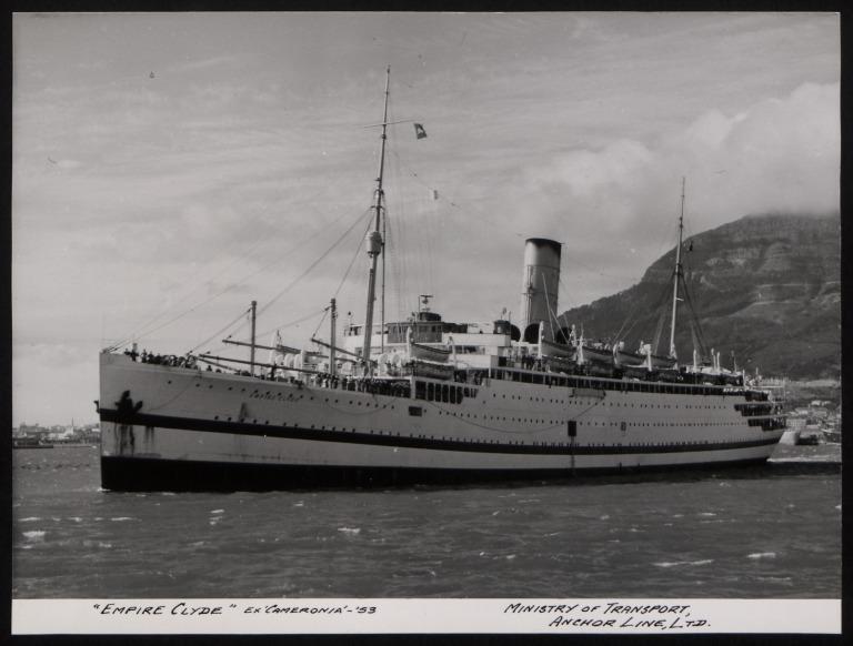 Photograph of Empire Clyde (ex Cameronia), Anchor Line card