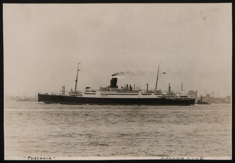 Photograph of Tuscania, Anchor Line card