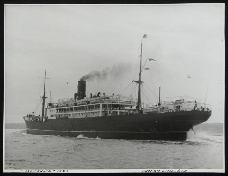 Photograph of Britannia, Anchor Line card
