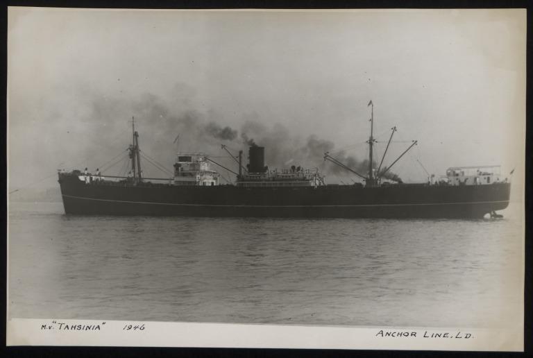 Photograph of Tashinia, Anchor Line card