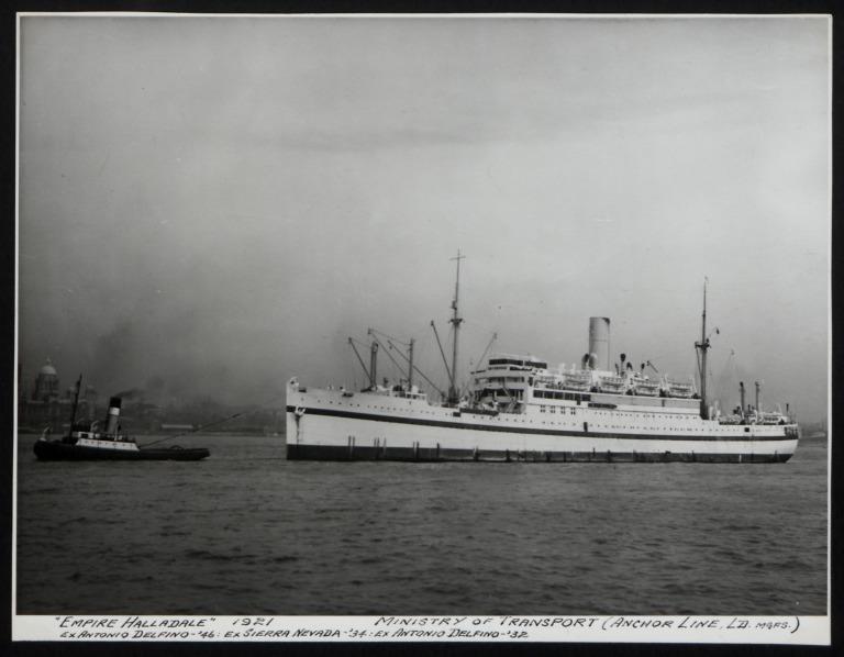Photograph of Empire Halladale (ex Antonio Delfino Ex Sierra Nevada ex Antonio Delfino), Anchor Line card