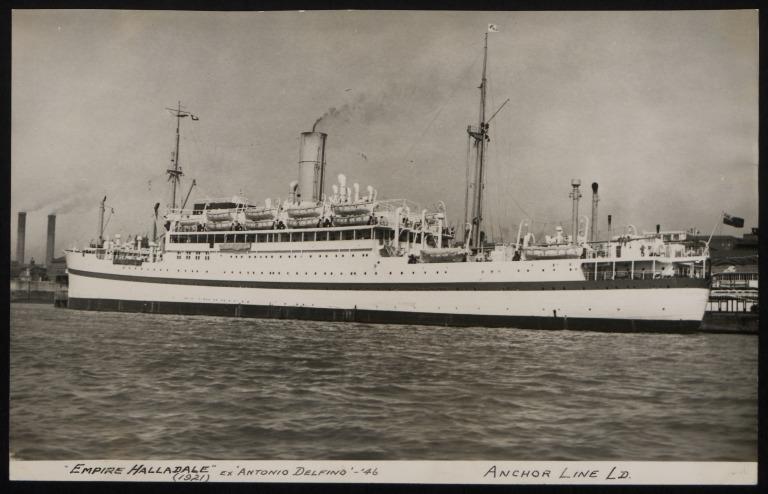 Photograph of Empire Halladale (ex Antonio Delfino), Anchor Line card