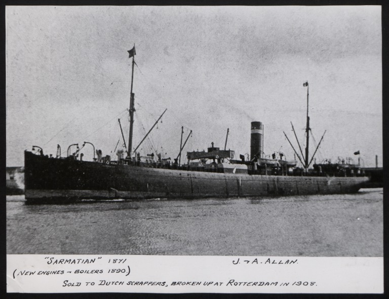 Photograph of Sarmatian, Allan Line card