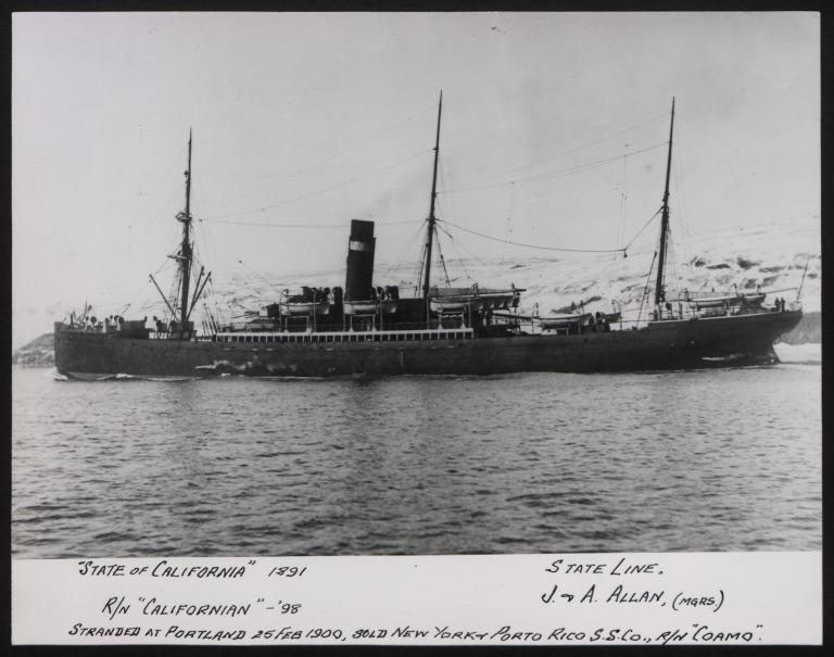 Photograph of Californian, Allan Line card