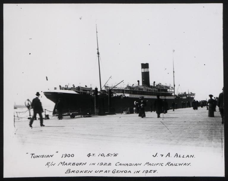 Photograph of Tunisian, Allan Line card