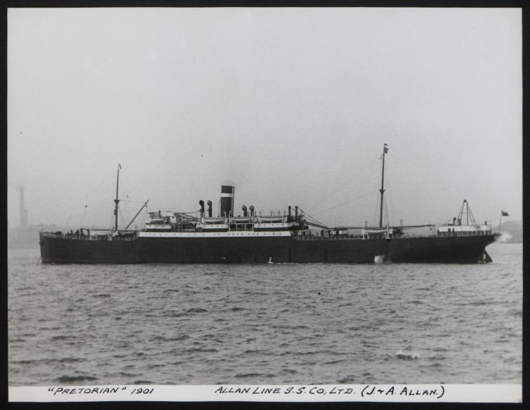Photograph of Pretorian, Allan Line card