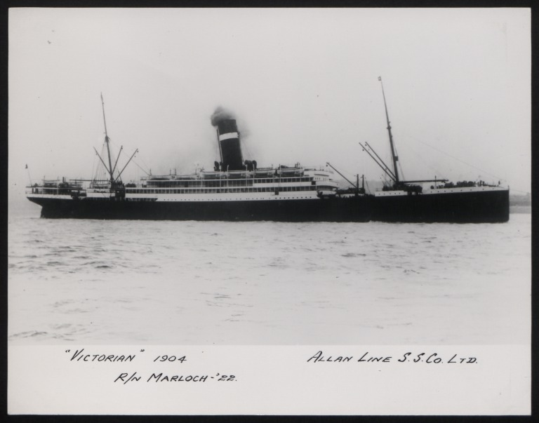 Photograph of Victorian, Allan Line card