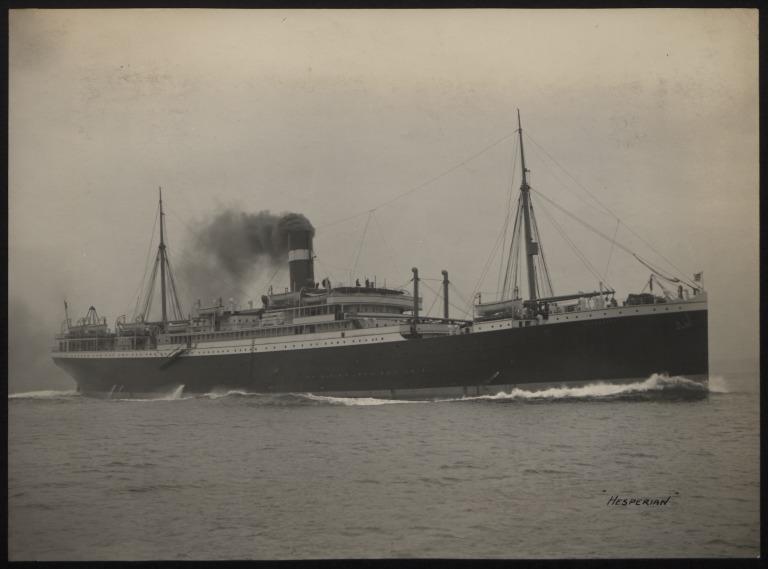 Photograph of Hesperian, Allan Line card