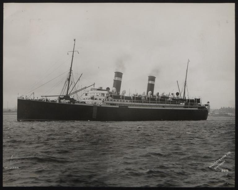 Photograph of Calgarian, Allan Line card