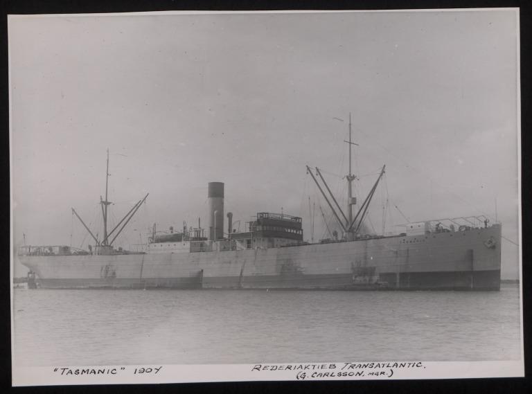 Photograph of Tasmanic, Rederi A/B Transatlantic G Carlsson card