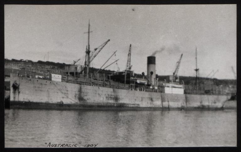 Photograph of Australic, Rederi A/B Transatlantic G Carlsson card