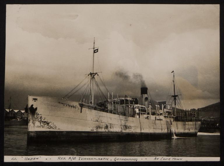 Photograph of Unden, Rederi A/B Transatlantic G Carlsson card