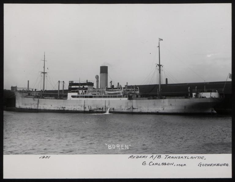 Photograph of Boren, Rederi A/B Transatlantic G Carlsson card