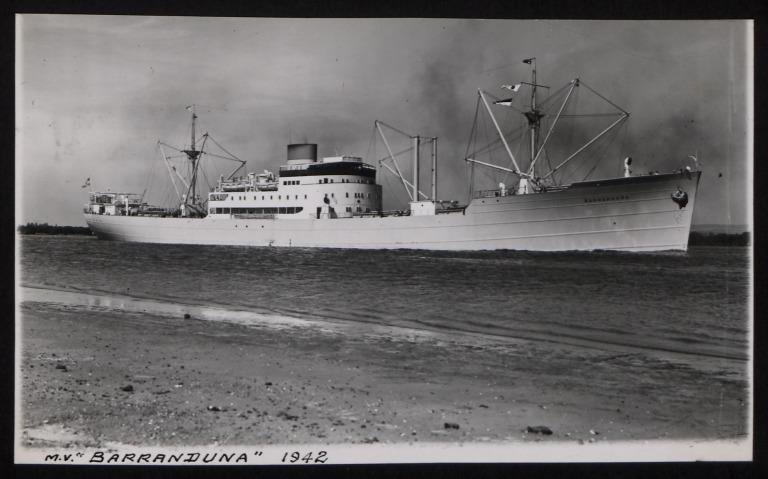 Photograph of Barranduna, Rederi A/B Transatlantic G Carlsson card