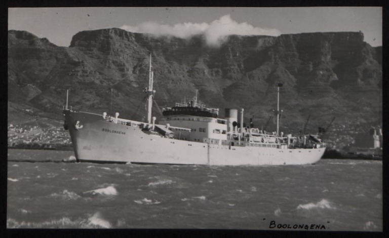 Photograph of Boolongena, Rederi A/B Transatlantic G Carlsson card