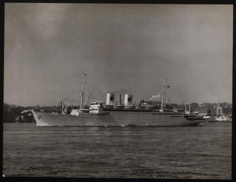 Photograph of Gripsholm, Svenska Amerika Linien card