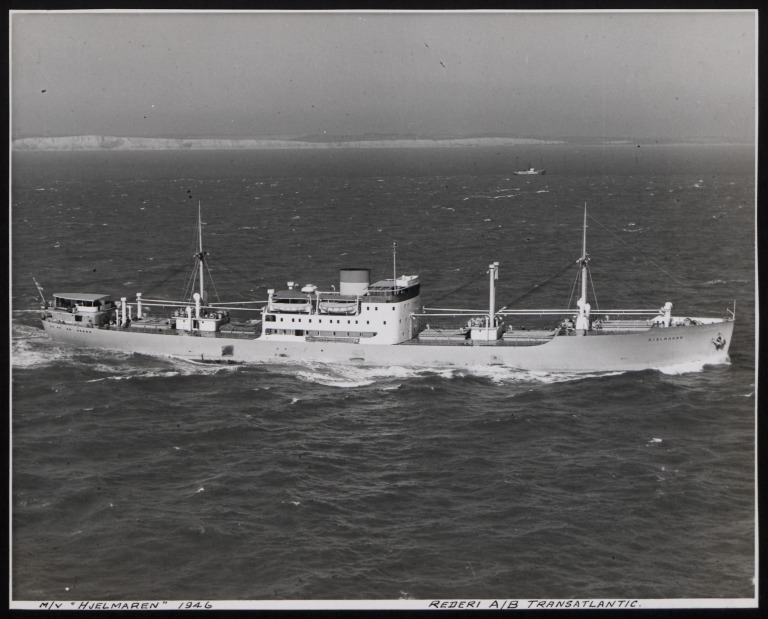 Photograph of Hjelmaren, Rederi A/B Transatlantic G Carlsson card