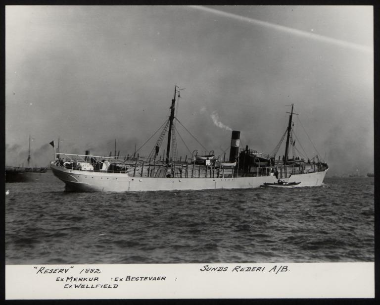 Photograph of Reserv (ex Merkur, ex Bestevaer, ex Wellfield), Sunds Rederi A/B card