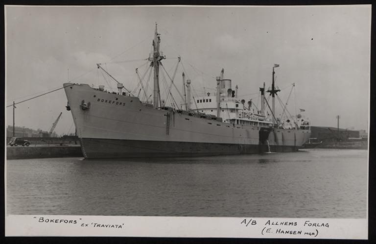 Photograph of Bokefors (ex Traviata), A/B Allhems Forlag card