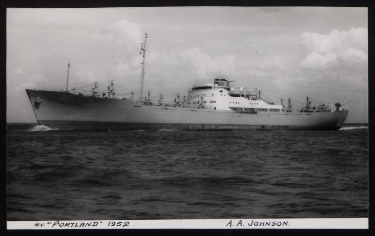 Photograph of Portland, Johnson Line card