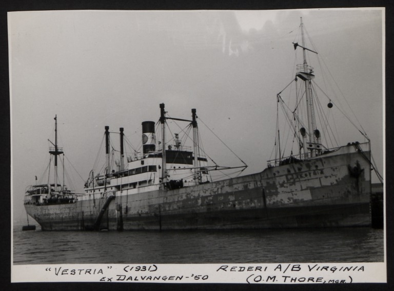 Photograph of Vestria (ex Dalvangen), Rederi A/B Virginia (O M Thore) card