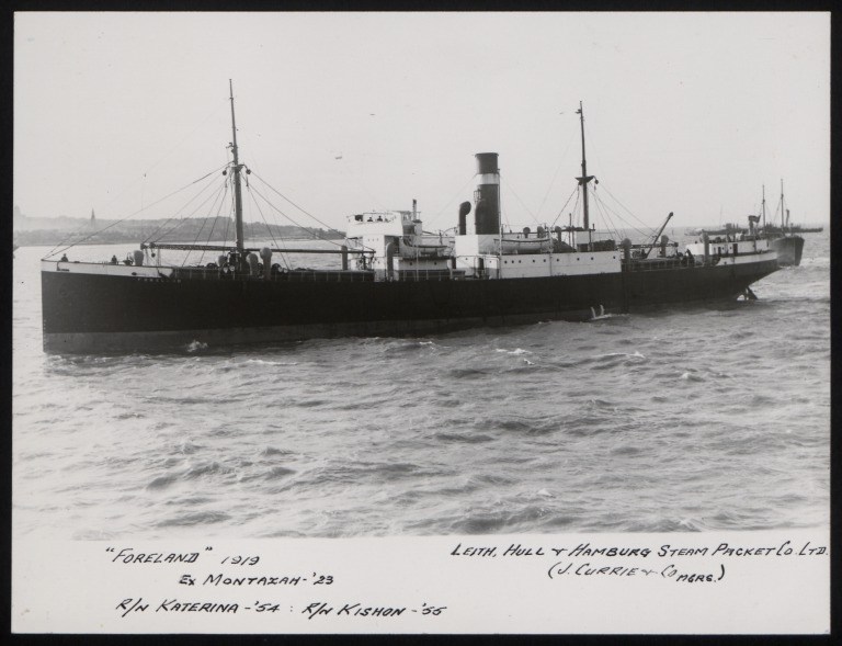 Photograph of Foreland (ex Montazah), J Currie and Company card