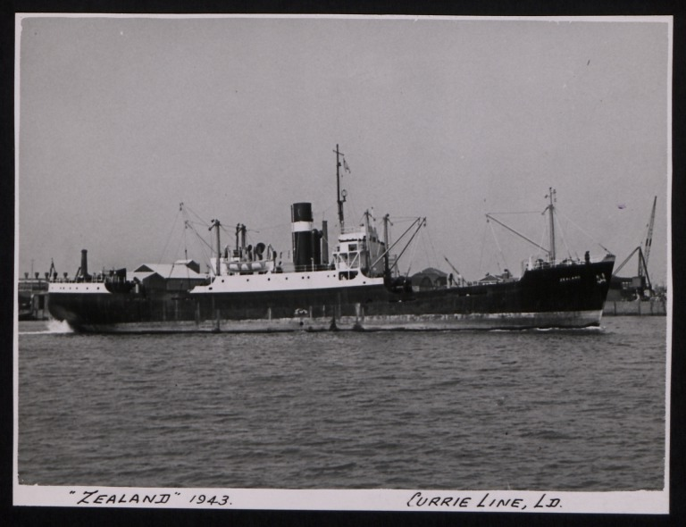 Photograph of Zealand, Currie Line card