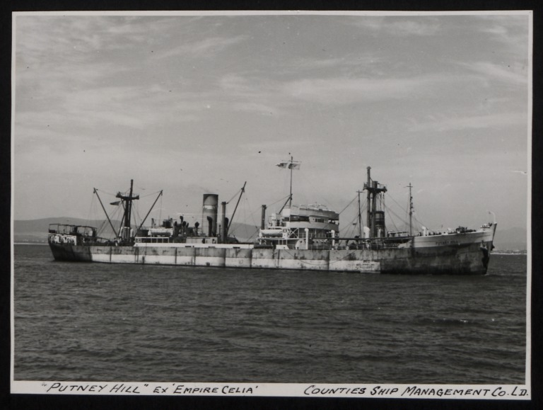 Photograph of Putney Hill (ex Empire Celia), Counties Ship Management Company card