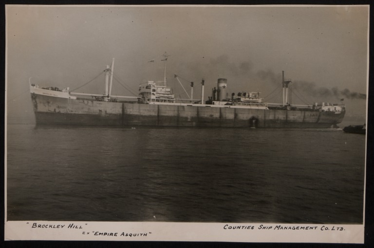 Photograph of Brockley Hill (ex Empire Asquith), Counties Ship Management Company card