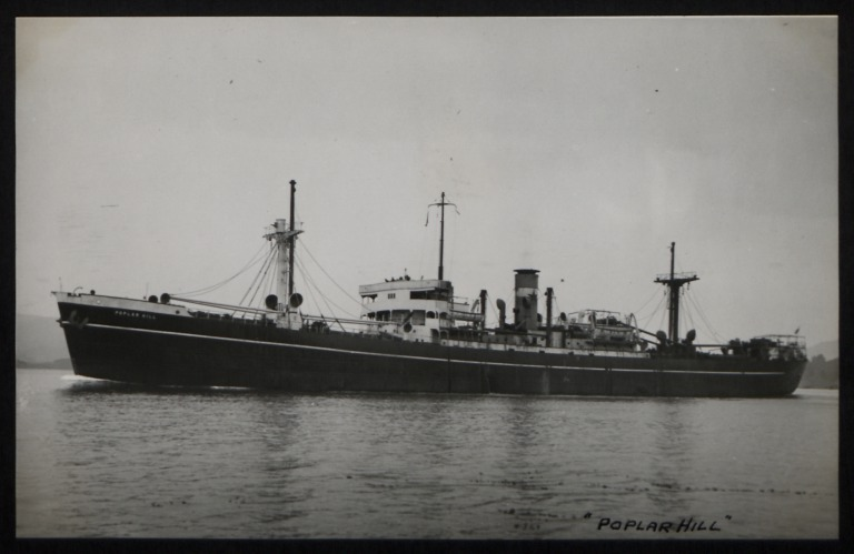 Photograph of Poplar Hill, Counties Ship Management Company card