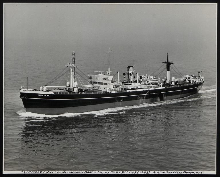 Photograph of Wembley Hill (ex Haligonian Baron), Counties Ship Management Company card