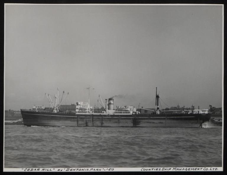 Photograph of Cedar Hill (ex Dentonian Park), Counties Ship Management Company card