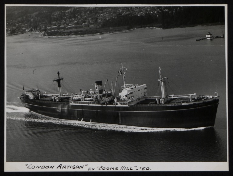 Photograph of London Artisan (ex Coome Hill), Counties Ship Management Company card