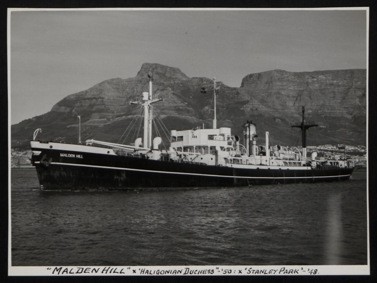 Photograph of Malden Hill (ex Haligonian Duchess and Stanley Park), Counties Ship Management Company card