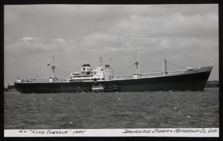 Photograph of King Theseus, Dalhousie Steam and Motorship Co card