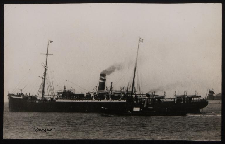 Photograph of Oregon, Dominion Line card