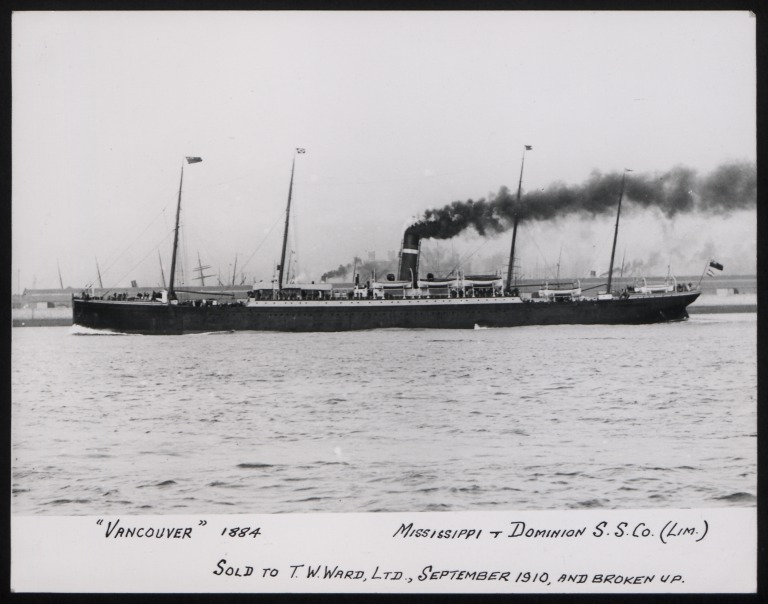 Photograph of Vancouver, Dominion Line card